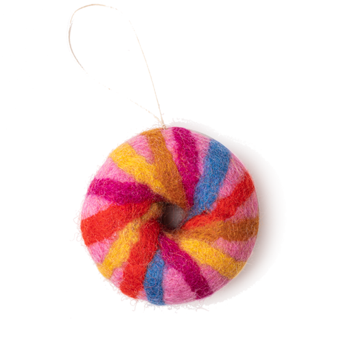 Felt NYC Rainbow Bagel Ornament