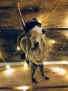Raccoon Bandit Ornament with Rope