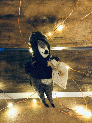 Raccoon Bandit Ornament with Bag and Hoodie