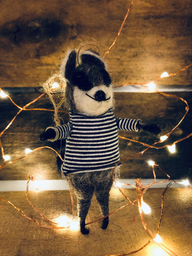 Raccoon Bandit Ornament with Striped Sweater