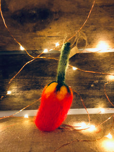 Felted Pepper Ornament- Red/Yellow