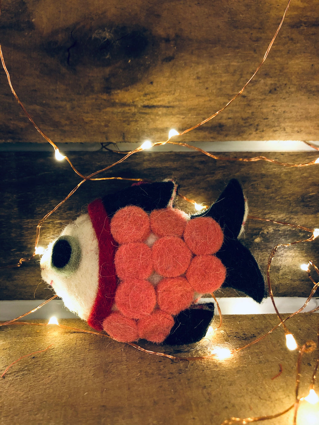 Felted Fish Ornament- Light Pink