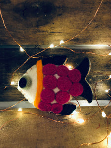 Felted Fish Ornament- Dark Pink