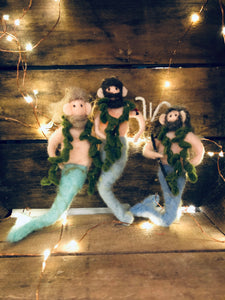 Merman Ornament- Teal Tail, Blonde, Black Tattoo