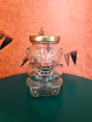 Clear Glass Bear Honey Jar, Gold Lid, 9 oz