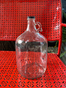 Clear Glass Jug w/ Handle, Black Metal Lid, 1 Gallon