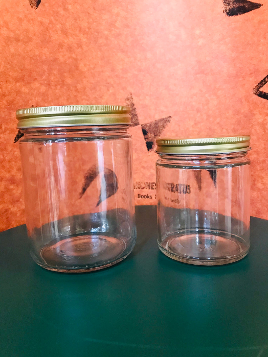 Clear Glass Straight-Sided Mason Jar, Wide Mouth, Gold Lid, 16 oz