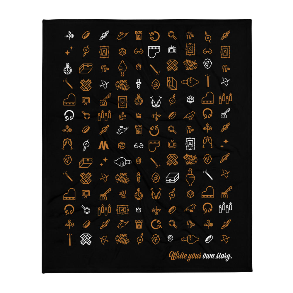 Write Your Own Story Throw Blanket (Black)