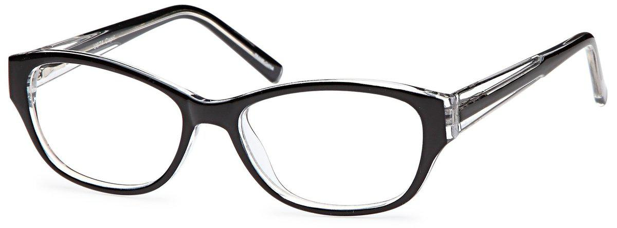 Black-Modern Oval US 74 Frame-Prescription Glasses-Eyeglass Factory Outlet