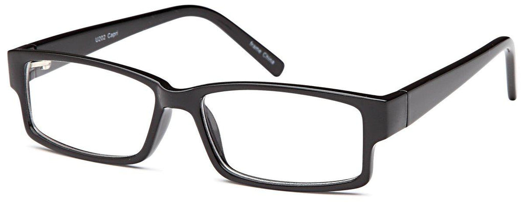 Black-Modern Rectangular U 202 Frame-Prescription Glasses-Eyeglass Factory Outlet