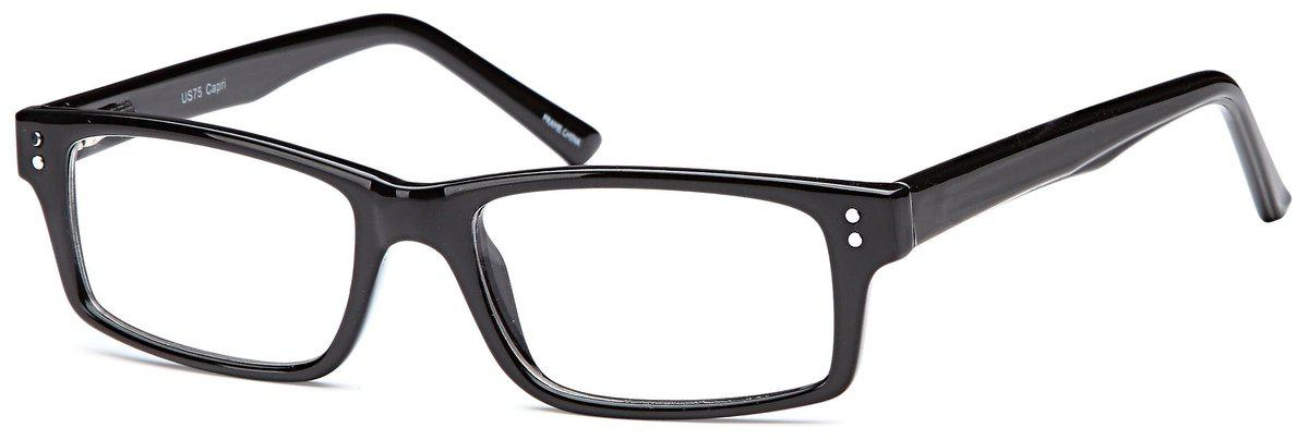 Black-Modern Rectangular US 75 Frame-Prescription Glasses-Eyeglass Factory Outlet