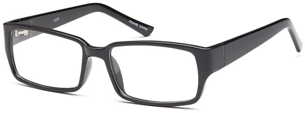 Black-Modern Square U 200 Frame-Prescription Glasses-Eyeglass Factory Outlet