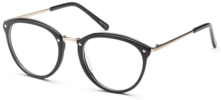 Black-Retro Oval DC 320 Frame-Prescription Glasses-Eyeglass Factory Outlet