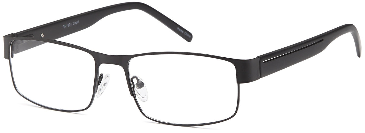 Black-Retro Rectangular GR 801 Frame-Prescription Glasses-Eyeglass Factory Outlet