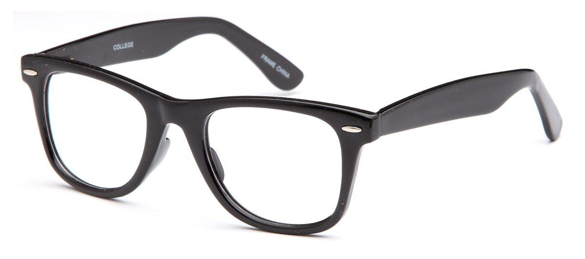 Black-Trendy Wayfarer College Frame-Prescription Glasses-Eyeglass Factory Outlet