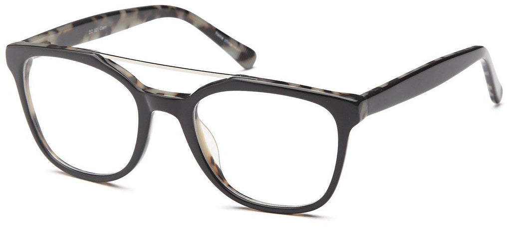 Black-Trendy Wayfarer DC 321 Frame-Prescription Glasses-Eyeglass Factory Outlet