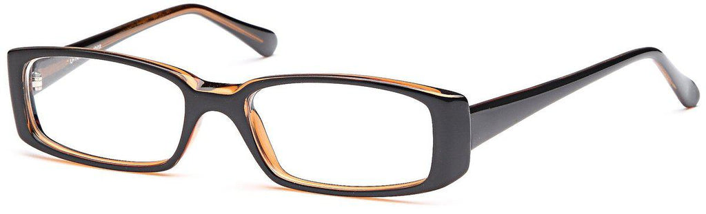 Black/Amber-Classic Rectangular U 14 Frame-Prescription Glasses-Eyeglass Factory Outlet