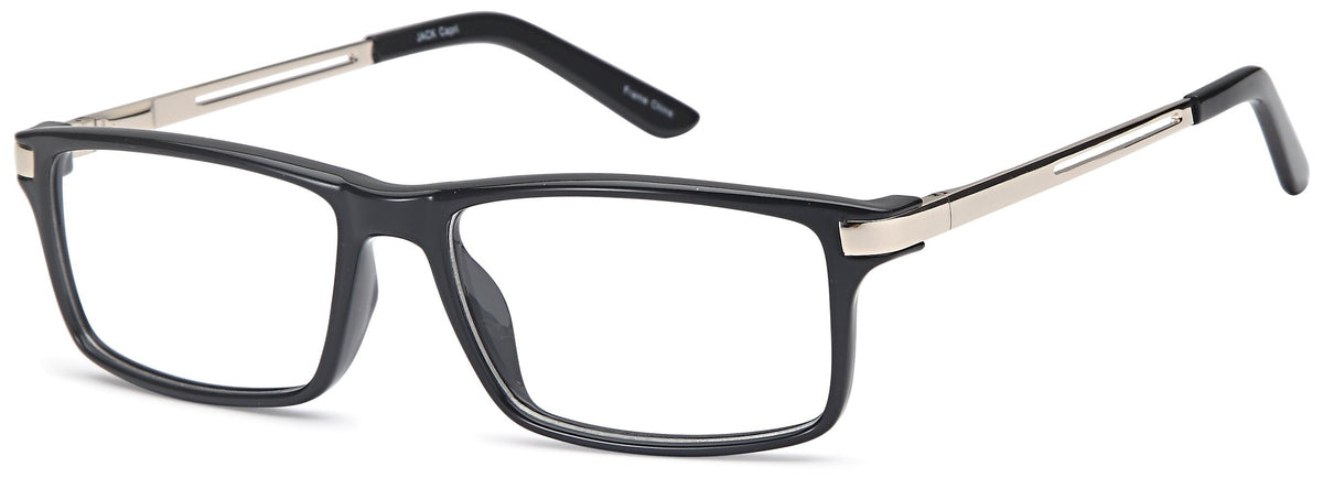 Black/Gold-Modern Rectangular Jack Frame-Prescription Glasses-Eyeglass Factory Outlet