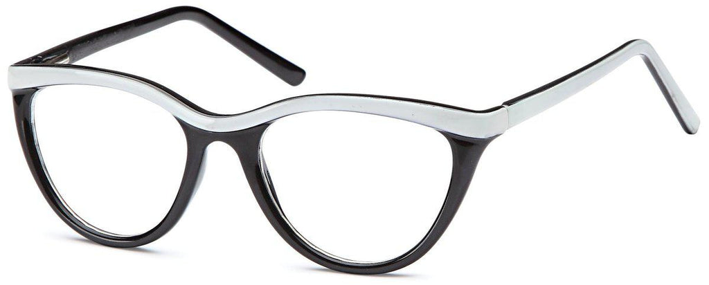 Black/White-Funky Oval US 79 Frame-Prescription Glasses-Eyeglass Factory Outlet