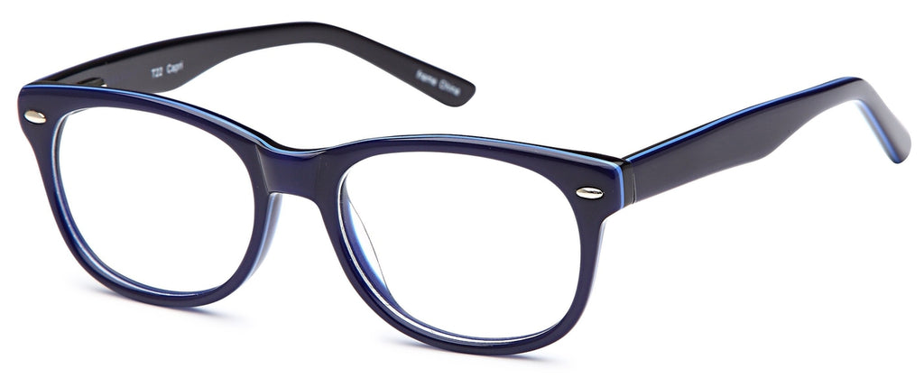 Blue-Modern Wayfarer T 22 Frame-Prescription Glasses-Eyeglass Factory Outlet