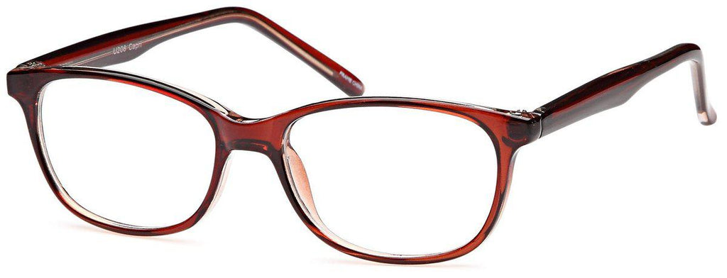 Brown-Classic Oval U 208 Frame-Prescription Glasses-Eyeglass Factory Outlet