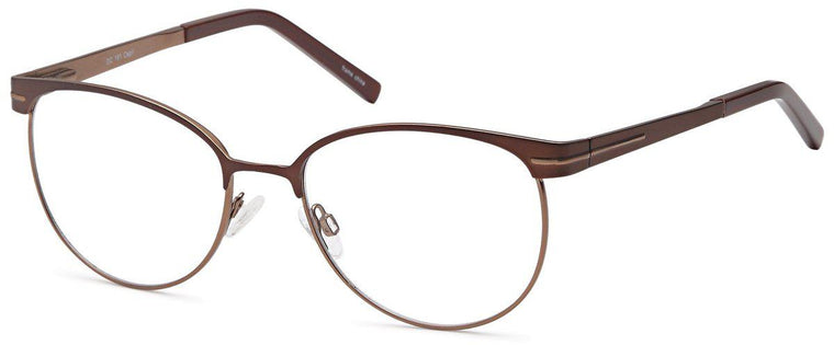 Brown-Modern Oval DC 161 Frame-Prescription Glasses-Eyeglass Factory Outlet