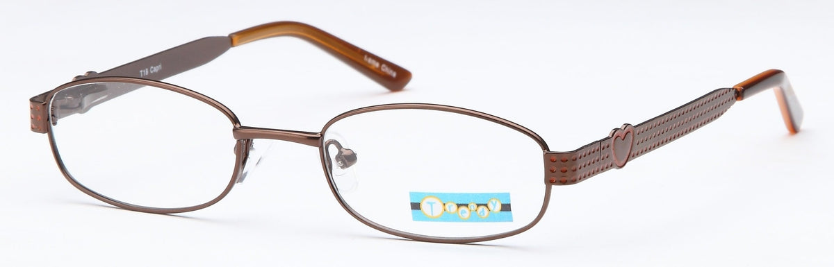 Brown-Modern Oval T 18 Frame-Prescription Glasses-Eyeglass Factory Outlet