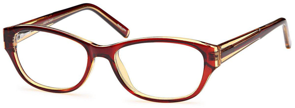 Brown-Modern Oval US 74 Frame-Prescription Glasses-Eyeglass Factory Outlet