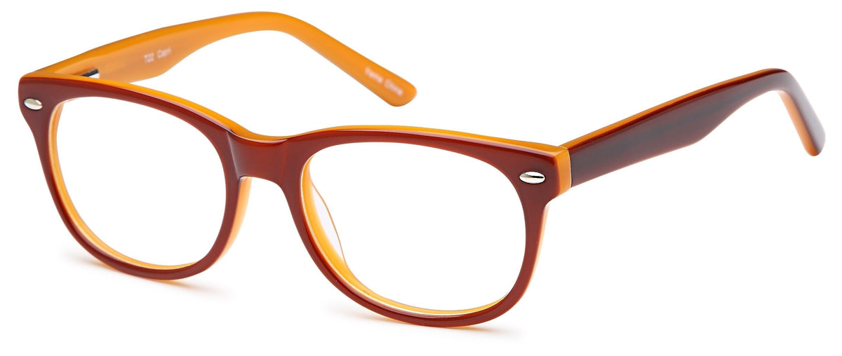 Brown-Modern Wayfarer T 22 Frame-Prescription Glasses-Eyeglass Factory Outlet
