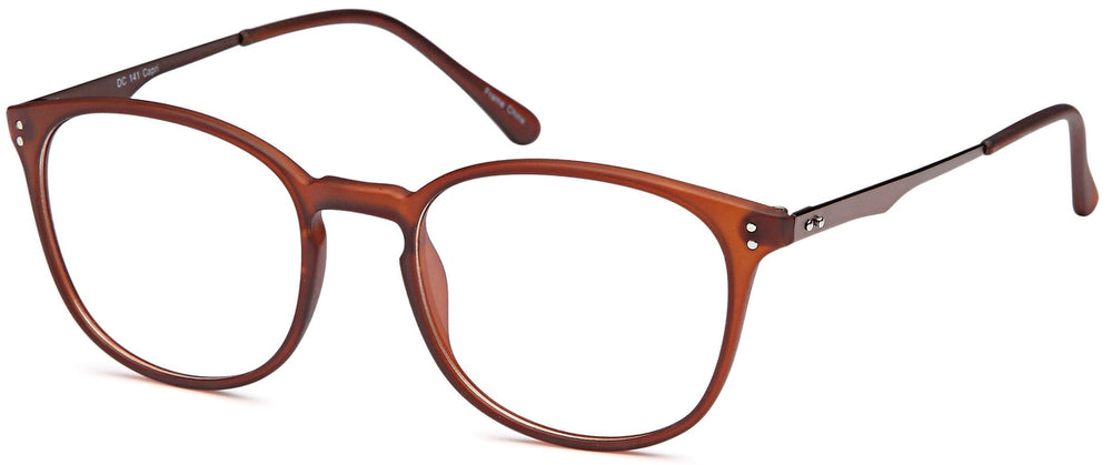 Brown-Retro Oval DC 141 Frame-Prescription Glasses-Eyeglass Factory Outlet