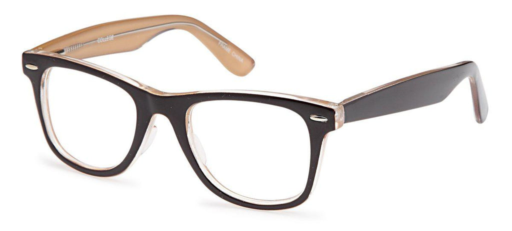 Brown-Trendy Wayfarer College Frame-Prescription Glasses-Eyeglass Factory Outlet