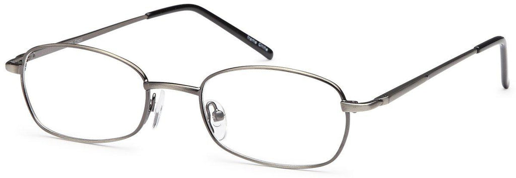 Gunmetal-Modern Oval PT 80 Frame-Prescription Glasses-Eyeglass Factory Outlet
