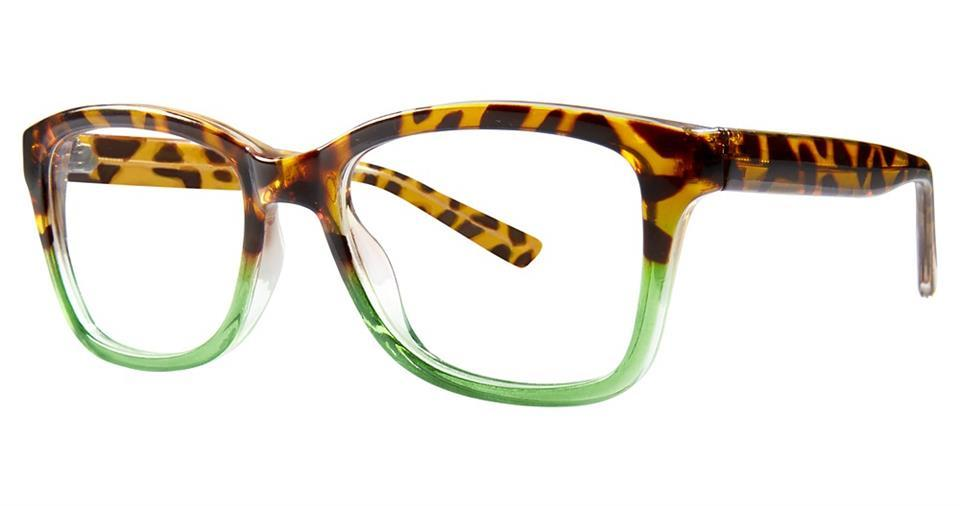 Tortoise/Green-Modern Square Soho 1030 Frame-Prescription Glasses-Eyeglass Factory Outlet