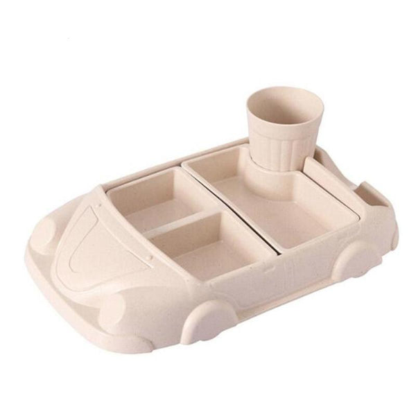 Car-Shaped Bamboo Dinner Plate