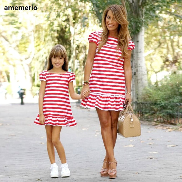 Family Matching Clothes 2020 Striped Mother Daughter Dresses Short Sleeve  Girl Big Sister Mother Kids Matching Family Clothes