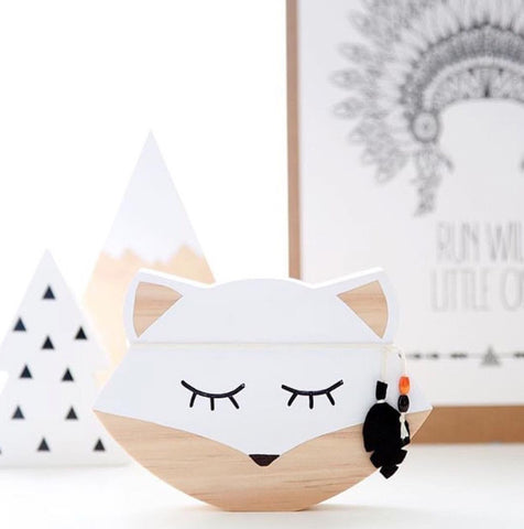 Wooden Fox Sign Room Decor