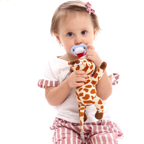 Plush Pacifier Holder & Clip (Use with Multiple Brand Name Pacifiers)
