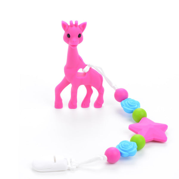 Giraffe Teether with Pacifier Clip