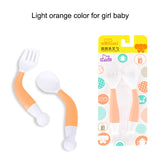 Curved Self-Feeding Baby Spoon Fork Set