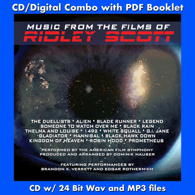 MUSIC FROM THE FILMS OF RIDLEY SCOTT - Performed by The American Film Symphony (CD comes W/Free Digital Download/Digital booklet)