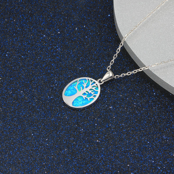 Tree of life blue opal pendant necklace sterling silver thenthingsco tree of life blue opal pendant necklace sterling silver mozeypictures Gallery