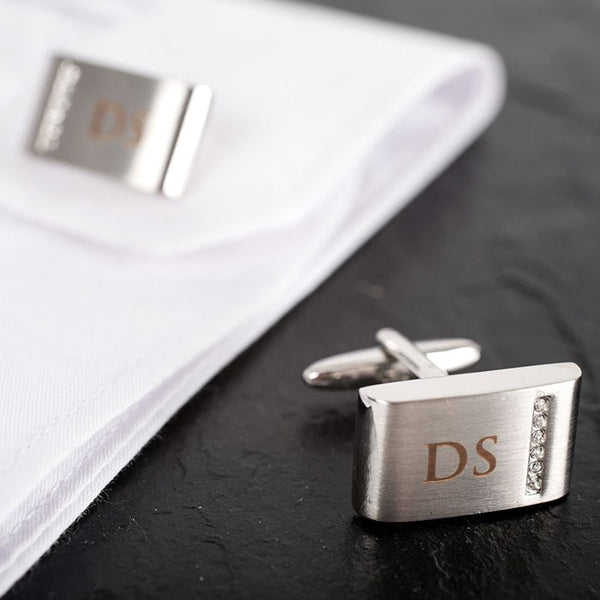 7 unique christmas gift ideas for a boyfriend-personalised-cufflinks-with-crystal-detail-BeUnique.co