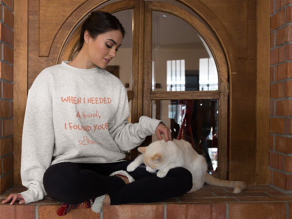 When I Needed a Hand I found your Paw Sweatshirt for Women- Grey Sweatshirt - Blog of BeUnique.co Animal Lovers Will Be Obsessed With These Fabulous Finds