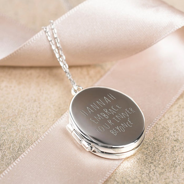 engraved oval shaped locket necklace-Amazing christmas gift for her-BeUnique.co