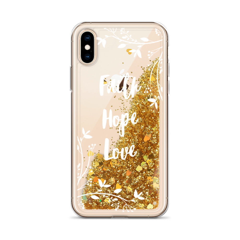 Faith Hope Love | Floral Liquid Glitter iPhone Case [White design]