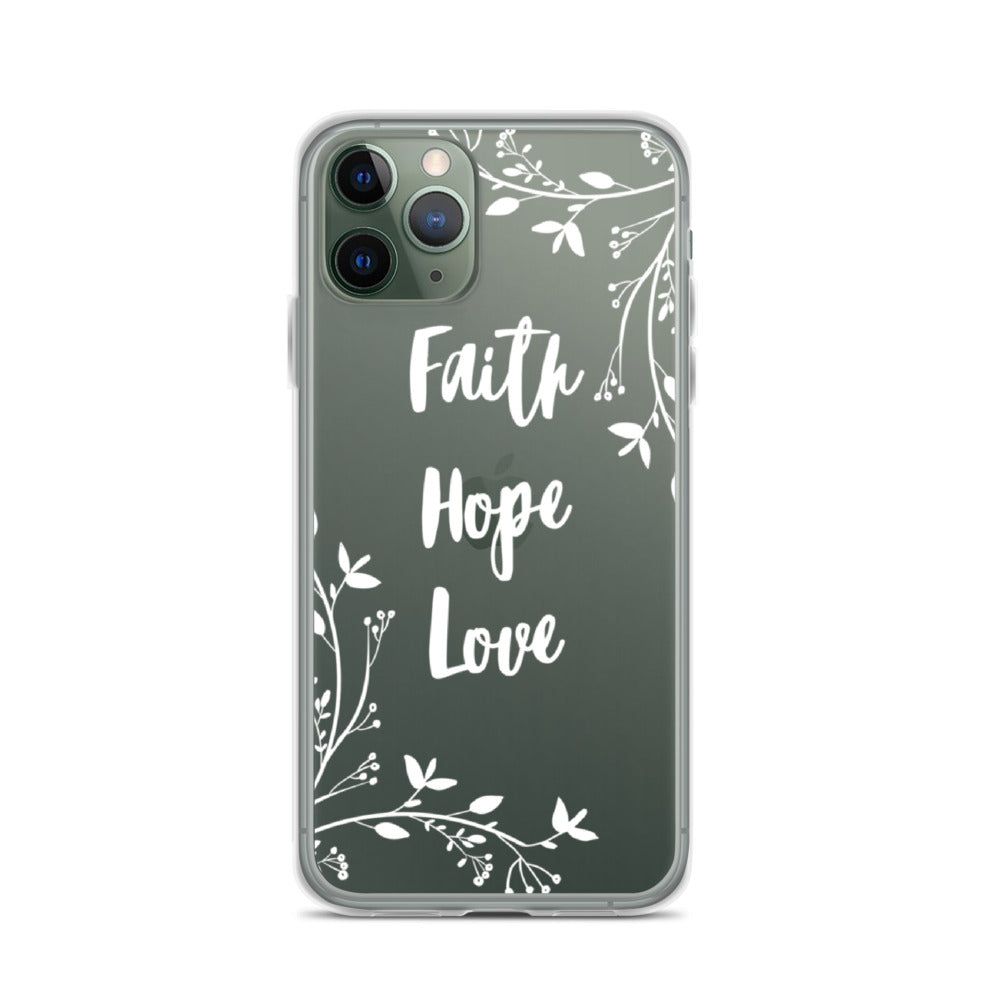 Faith Hope Love | Floral iPhone Case [White design]
