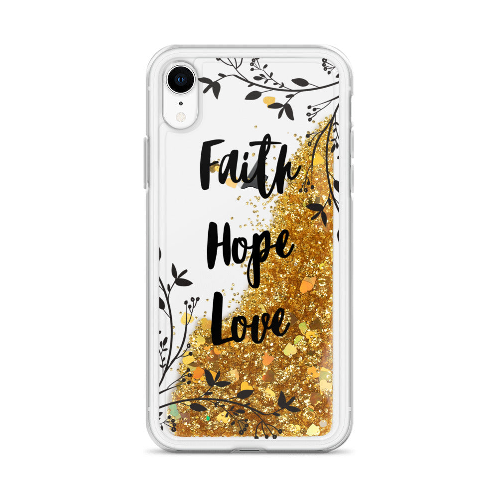 Faith Hope Love | Floral Liquid Glitter iPhone Case