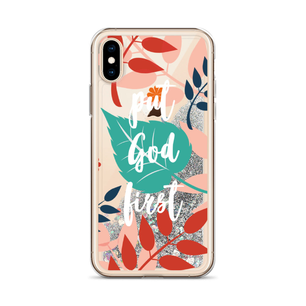 PUT GOD FIRST | Floral & inspirational Liquid Glitter iPhone Case [White design]