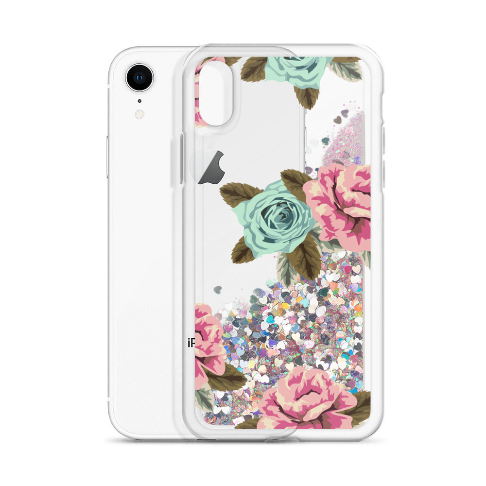 Turquoise & Rose floral Glitter transparent Case