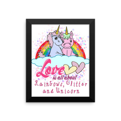 Love is All About Rainbows, Glitter & Unicorn Valentines Framed Poster